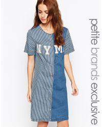 Noisy May Petite - Orange Baseball Logo Contrast Dress - Lyst