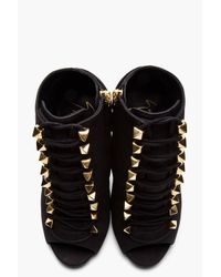 Giuseppe Zanotti - Matte Black Leather Goldstudded Alien Boots - Lyst