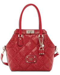 Guess | Red Ophelia Turnlock Satchel | Lyst