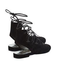 Saint Laurent - Black Lace-Up Suede Sandals - Lyst