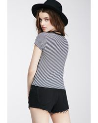Forever 21 - Black Striped Adjö Graphic Tee - Lyst