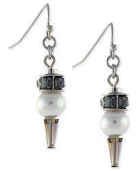 BCBGeneration - Metallic Rhodium-tone Imitation Pearl Drop Earrings - Lyst