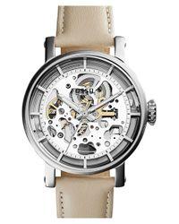 Fossil - Metallic 'original Boyfriend' Skeleton Dial Leather Strap Watch - Lyst