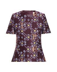 Mary Katrantzou   Purple Jacquard Peplum Top   Lyst
