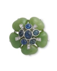 Kenneth Jay Lane | Green Jade Flower Brooch | Lyst