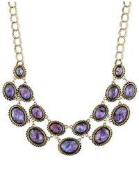 Jones New York - Gold-Tone Purple Stone Linked Frontal Necklace - Lyst