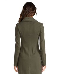 James Perse - Green Long Fleece Military Coat in Army - Lyst