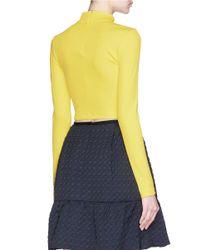 Tanya Taylor - Yellow 'ren' Rib Knit Turtleneck Cropped Top - Lyst