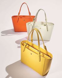 Tory Burch | Yellow York Small Saffiano Tote Bag | Lyst