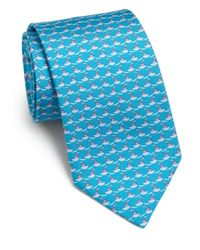 Ferragamo - Blue Tugboat-print Silk Tie for Men - Lyst