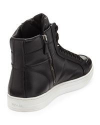 Prada - Black Saffiano High-top Sneaker for Men - Lyst