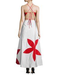 Rosie Assoulin - White Flower-stamp Cutout Silk Gown - Lyst