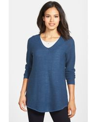 Eileen Fisher | Blue Shirttail Hem V-neck Merino Sweater | Lyst