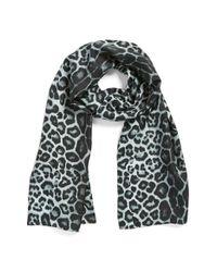 Badgley Mischka | Gray Leopard Print Silk Scarf | Lyst