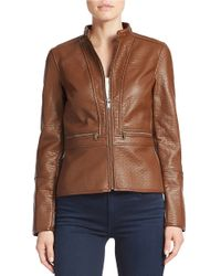 Lord & Taylor | Brown Faux Leather Peplum Moto Jacket | Lyst