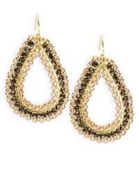 Panacea | Metallic Beaded Teardrop Earrings | Lyst