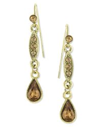 2028 - Metallic Gold-tone Topaz Linear Teardrop Earrings - Lyst