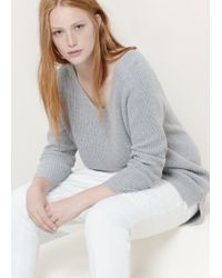 Violeta by Mango | Gray Cotton Wool-blend Sweater | Lyst