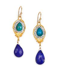Alexis Bittar | Blue Elements Maldivian Chrysocolla, Lapis & Crystal Feathered Drop Earrings | Lyst