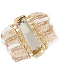 Kenneth Cole | Metallic Gold-tone Rectangular Stone Multi-row Bracelet | Lyst