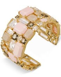 kate spade new york | Gold-tone Pink Stone Cuff Bracelet | Lyst
