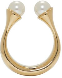 Chloé - Metallic Gold Twin Pearl Darcey Ring - Lyst