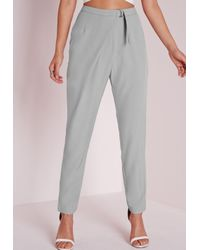 Missguided - Gray Wrap Detail Tailored Trousers Grey - Lyst