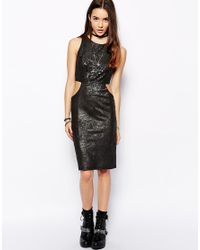 Glamorous - Black Dress With Cut Out Waist Detail - Lyst