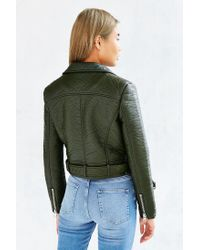 Members Only - Green Pebbled Vegan Leather Jacket - Lyst