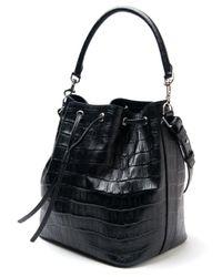 Saint Laurent | Black Emmanuelle Crocodile-Leather Bucket Bag | Lyst