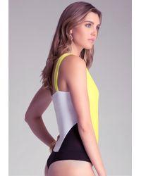 Bebe - Yellow Pleated Colorblock Bodysuit - Lyst