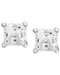 Macy's | Near Colorless Princess-cut Diamond Stud Earrings In 14k White Gold (1/4 Ct. T.w.) | Lyst