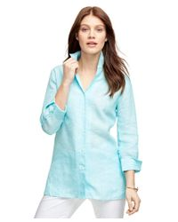 Brooks Brothers - Blue Three-quarter Sleeve Linen Shirt - Lyst
