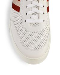 Bally - White Perforated Leather Hightop Sneakers for Men - Lyst