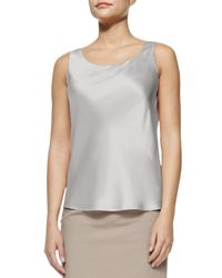 Lafayette 148 New York - Gray Silk Tank Top - Lyst