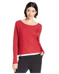 Eileen Fisher | Red Bateau-neck Cropped Boxy Sweater | Lyst