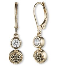 Judith Jack | Metallic 14k Gold And Swarovski Crystal Linear Earrings | Lyst