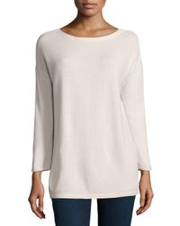Neiman Marcus - Pink 3/4-sleeve Cashmere Tunic W/ Silk Back - Lyst