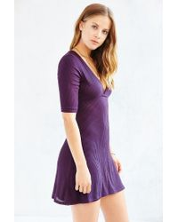 Silence + Noise - Purple Ribbed Knit Deep-v Dress - Lyst