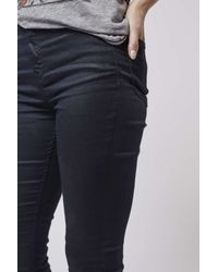 TOPSHOP | Blue Moto Navy Coated Jamie Jeans | Lyst