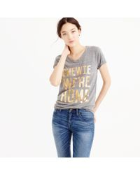 "J.Crew | Gray Star Wars Women's ""chewie, We're Home"" T-shirt 