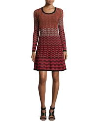 M Missoni - Red Long-sleeve Ripple-stitch Fit-and-flare Dress - Lyst