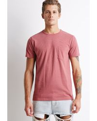 Forever 21 | Pink Micro-stripe Pocket Tee for Men | Lyst