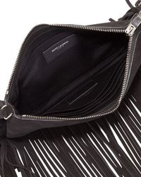 Saint Laurent - Black Monogram Fringed-Suede Cross-Body Bag - Lyst