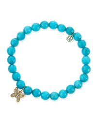 Sydney Evan - Blue 8Mm Faceted Peacock Jade Beaded Bracelet With 14K Gold/Diamond Butterfly Charm - Lyst