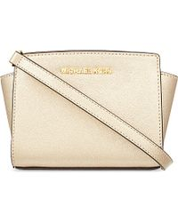 MICHAEL Michael Kors | Metallic Selma Mini Saffiano Leather Messenger Bag | Lyst