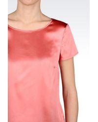 Armani | Pink Top In Stretch Satin | Lyst