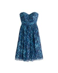 J.Crew | Blue Marbella Strapless Dress In Watercolor Silk Chiffon | Lyst