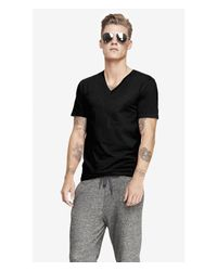 Express | Black Flex Stretch Cotton V-neck Tee for Men | Lyst