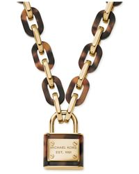 Michael Kors | Brown Gold-Tone Tortoise Link Padlock Pendant Necklace | Lyst